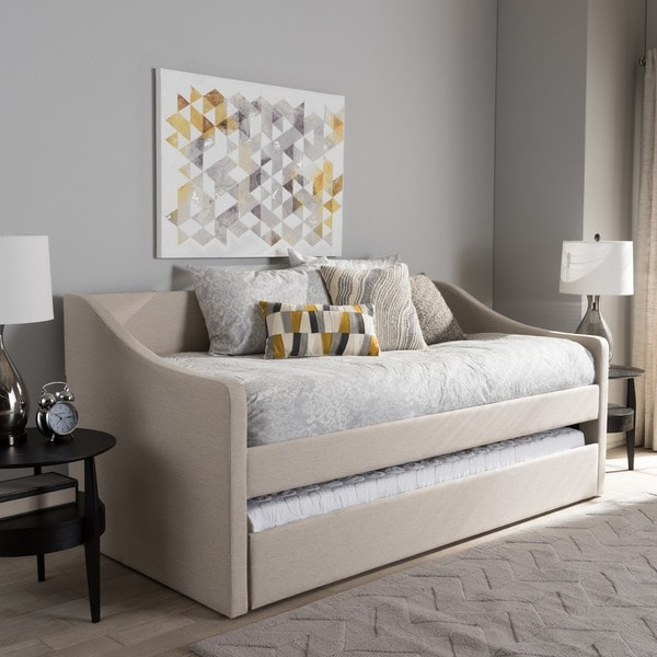 shop baxton studio kallikrates modern daybed with trundle bed free shipping today overstock. Black Bedroom Furniture Sets. Home Design Ideas