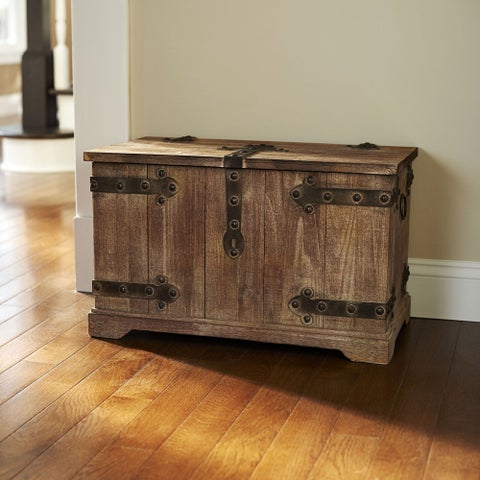 Tan Wood and Metal Large Victorian Storage Trunk