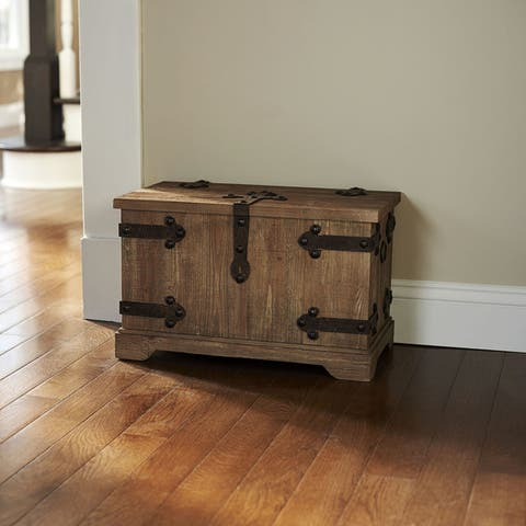 Tan Metal and Wood Small Victorian Storage Trunk