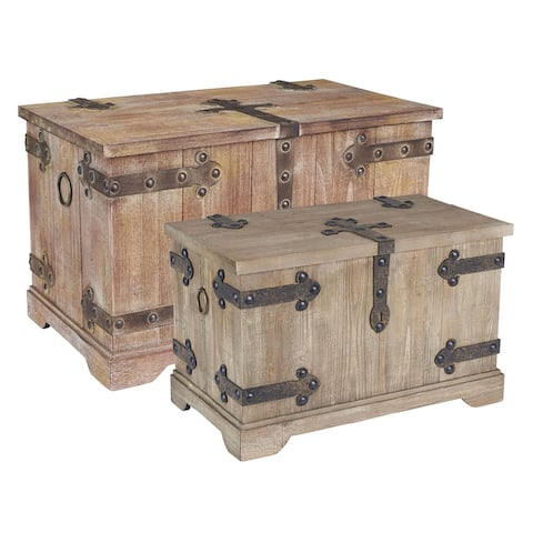 Household Essentials Wooden Home Chest (Set of 2)