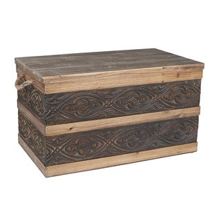 Household Essentials Wood/Metal Banded Storage Trunk