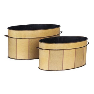 Household Essentials Wood Metal Oval Vintage Storage Bin (Set of 2)