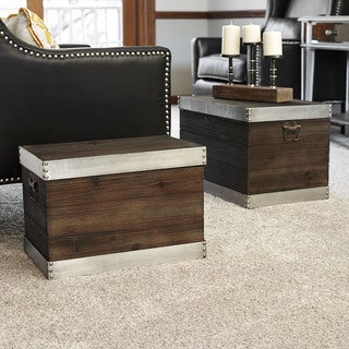 Silver Trim Wooden Storage 2-piece Trunk Set