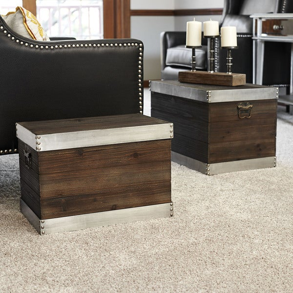 Silver Trim Wooden Storage 2 Piece Trunk Set