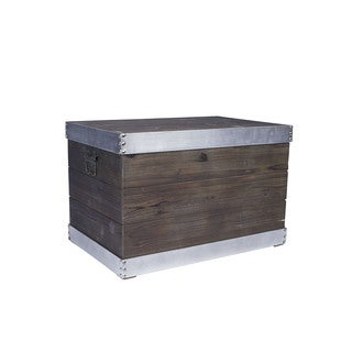Household Essentials Silver Metal-trimmed Wooden Storage Trunk