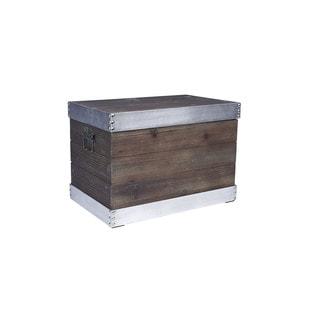 Black/Silver Wood/Metal Storage Trunk