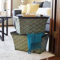 Household Essentials Green Gold Link Metal Storage Bins (Set of 2)