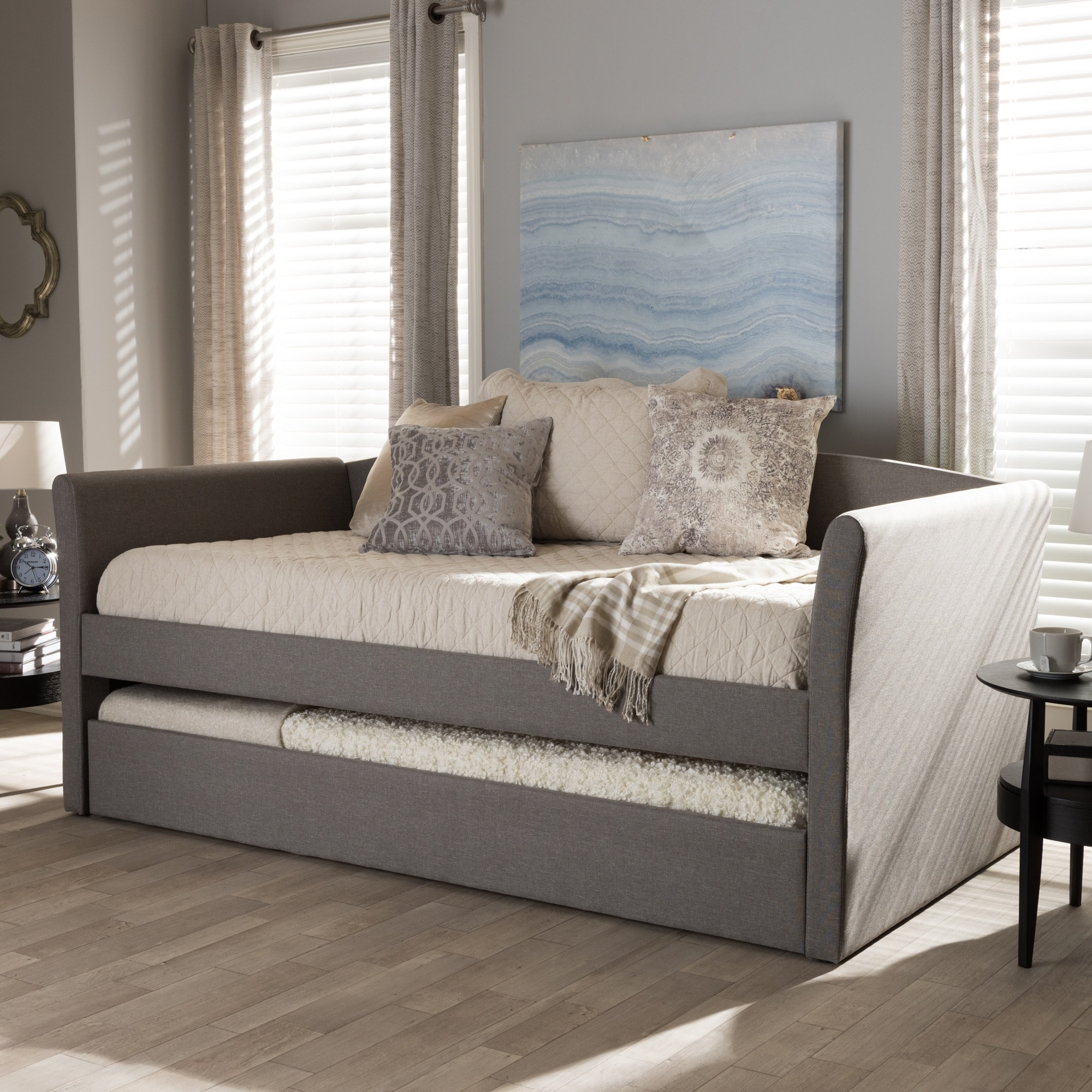 baxton studio kassandra modern and contemporary daybed with guest trundle bed ebay. Black Bedroom Furniture Sets. Home Design Ideas