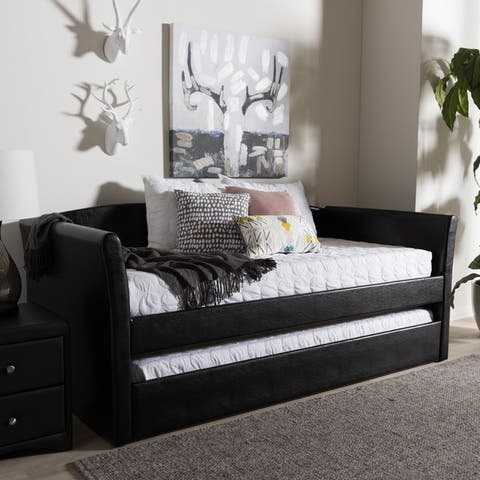 Baxton Studio Kassandra Contemporary Twin Daybed with Trundle Bed