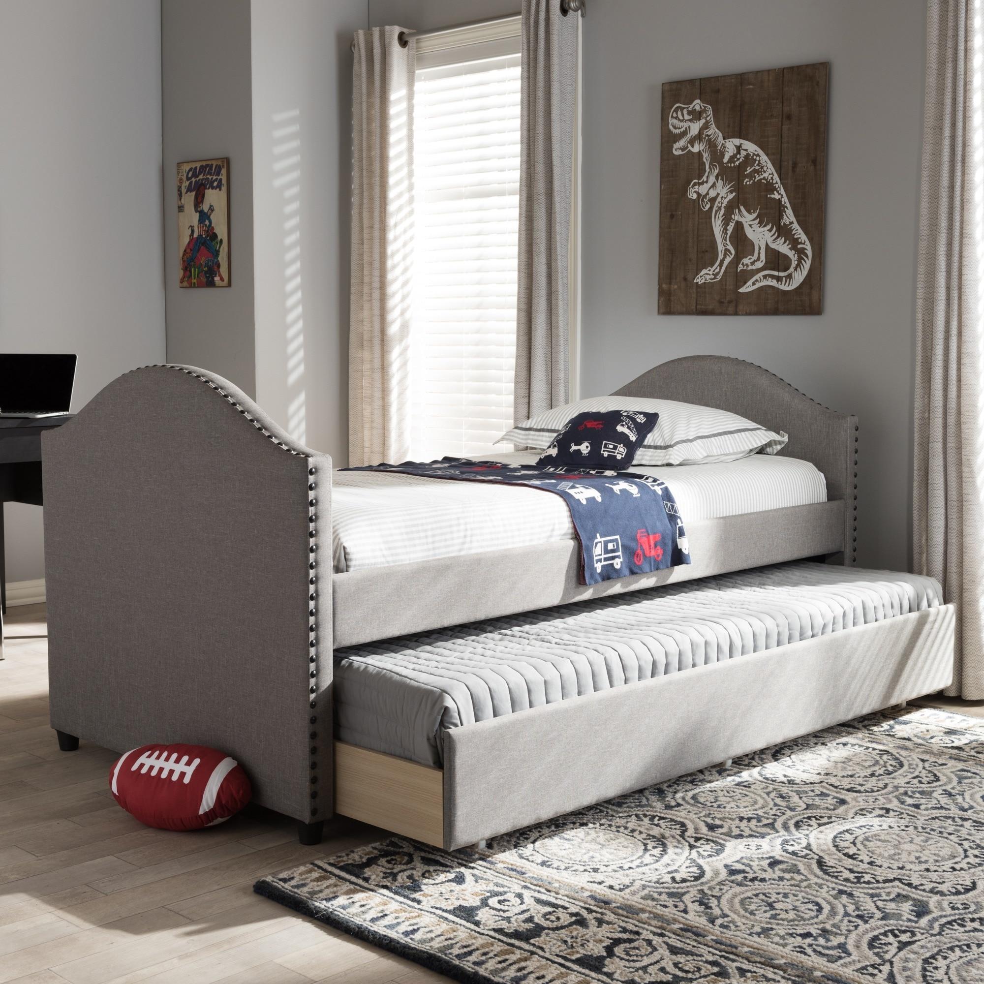baxton studio kleisthenes modern upholstered daybed with guest trundle bed ebay. Black Bedroom Furniture Sets. Home Design Ideas