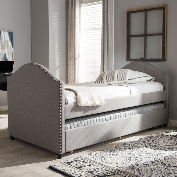 Bon Baxton Studio Kleisthenes Modern Upholstered Daybed With Guest Trundle Bed