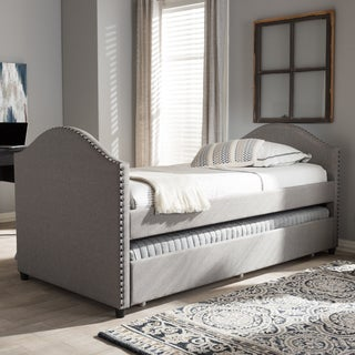 baxton studio kleisthenes modern upholstered daybed with guest trundle bed