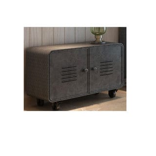 Benzara Urban Port Antiqued Grey Metal Storage Cabinet
