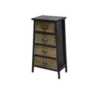 Urban Port Black/Brown Metal/Wood Contemporary Four-drawer Cabinet