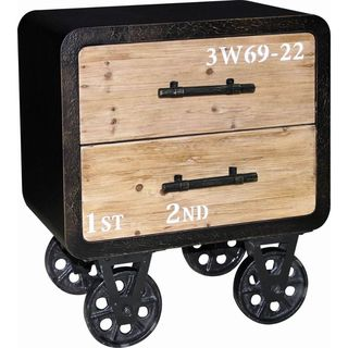 Benzara Urban Port Vintage/Industrial-style Two-drawer Cabinet