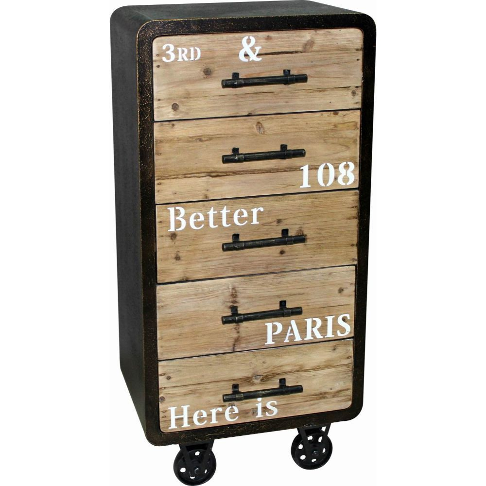 Maison Rouge Acorn Black/ Beige MDF Industrial 5-drawer Cabinet  sc 1 st  Overstock.com & Shop Maison Rouge Acorn Black/ Beige MDF Industrial 5-drawer Cabinet ...
