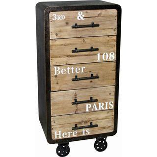 Urban Port Black/Beige MDF Industrial Five-drawer Cabinet
