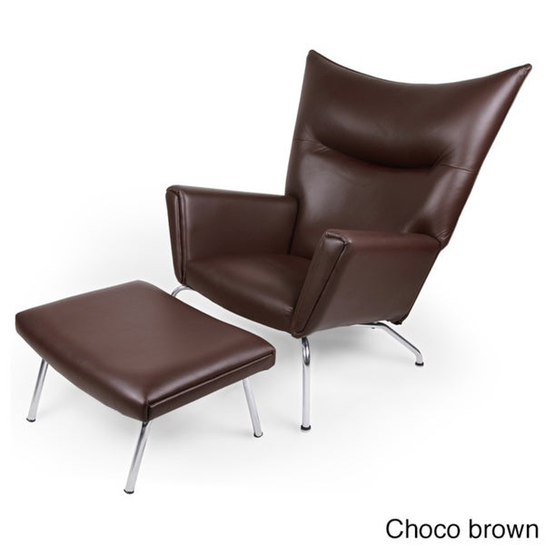 Kardiel Wegner Style Premium Leather Wing Chair And Ottoman   Free Shipping  Today   Overstock.com   19577821