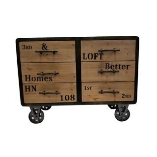 Urban Port Antiqued Industrial Six-drawer Cabinet