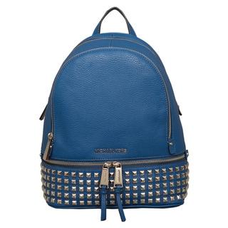 Michael Kors Small Rhea Steel Blue Zip Studded Backpack