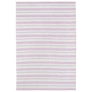 Littles Pink & Ivory Stripe Microfiber Rug (4' x 6')