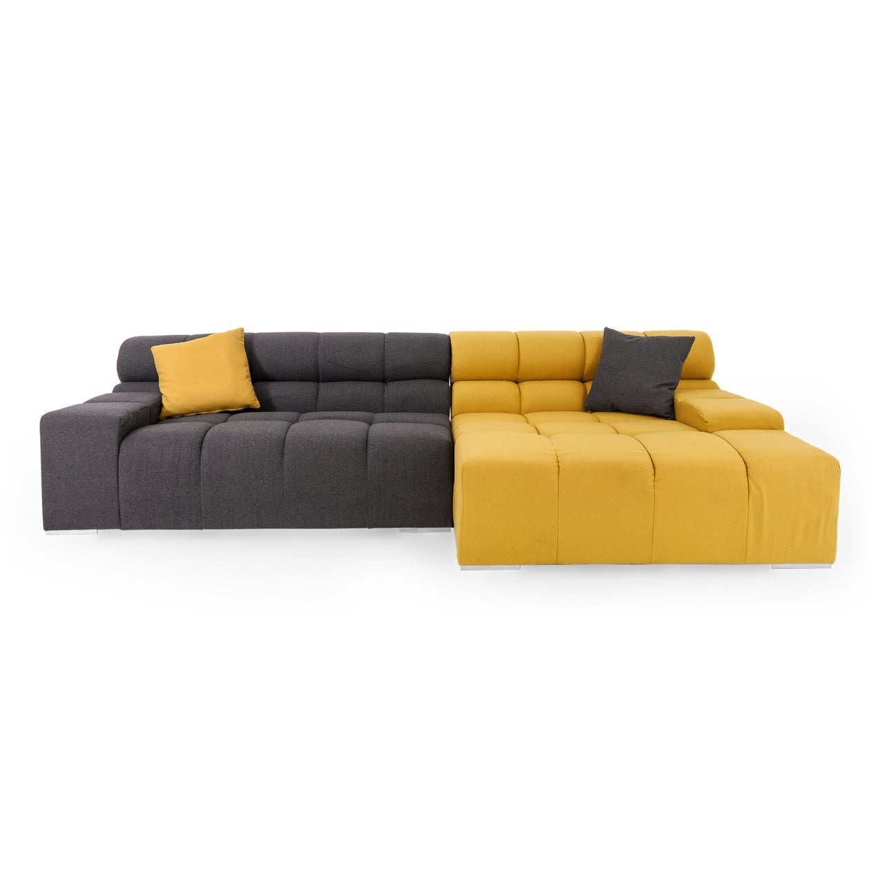 Cubix Premium Cashmere Modular Right Sectional Sofa (Yell...