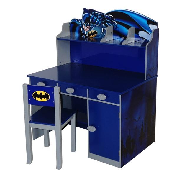 Shop O\'Kids Batman Blue MDF Writing Desk and Chair Set - Free ...