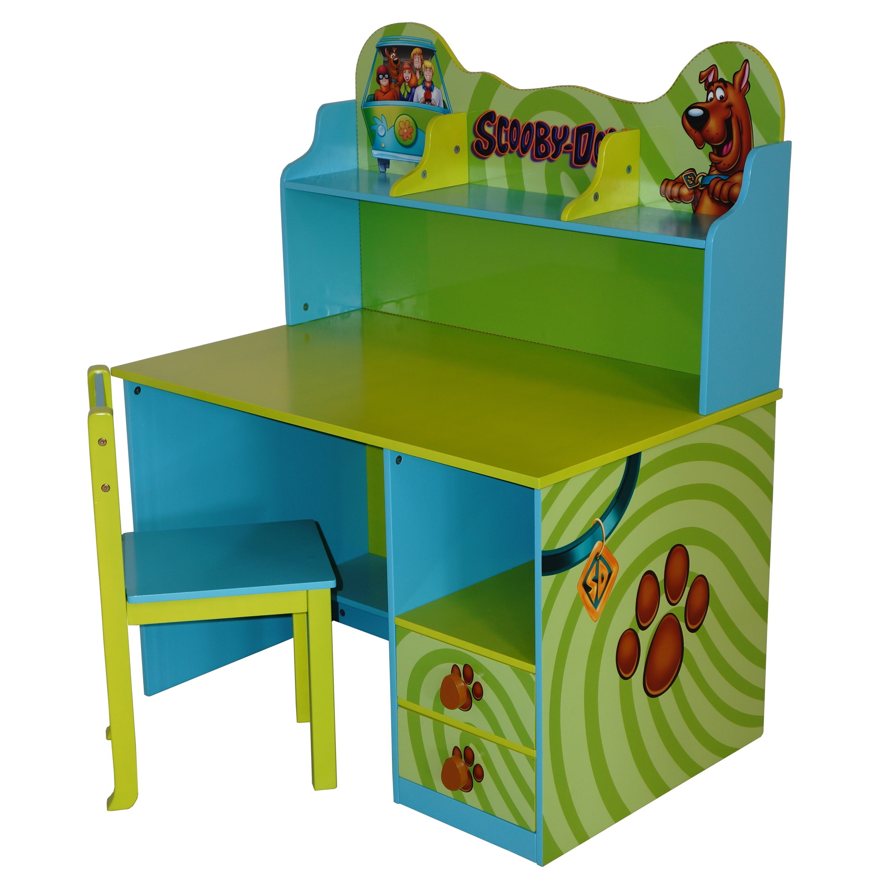 O'Kids Scooby-Doo Kids' Green MDF Writing Desk and Chair ...