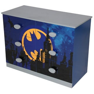 Blue Wood 6-drawer Batman Dresser