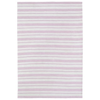 Littles Pink & Ivory Stripe Microfiber Rug (8'0 x 10'0)