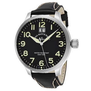 Zeno Men's 6221-7003-A1 'SOS' Black Dial Black Leather Strap Swiss Quartz Watch