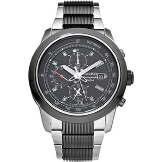 Seiko Men's SNAB19 Stainless Steel Chronograph Alarm Watch with 100M Water Resistance and Luminous Hands and Markers