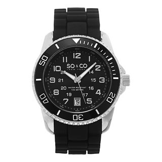 SO&CO New York Men's Quartz Unidirectional Black Silicone Rubber Strap Watch