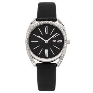 SO and CO New York Women's Quartz Madison Crystal Black Leather Strap Watch