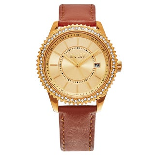 SO&CO New York Women's Brown Leather Madison Crystal Quartz Watch