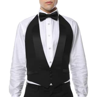 Men's Black 100-percent Wool Formal Backless Tuxedo Vest and Bow Tie|https://ak1.ostkcdn.com/images/products/12808770/P19578152.jpg?impolicy=medium