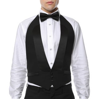Men's Black 100-percent Wool Formal Backless Tuxedo Vest and Bow Tie