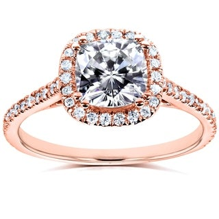 Annello By Kobelli 14k Rose Gold Cushion 1 1 3ct TGW Moissanite FG And Diamond GH Halo Engagement Ring