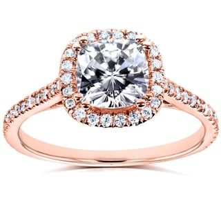 Annello 14k Rose Gold Cushion Forever Brilliant Moissanite and 1/4ct TDW Diamond Halo Engagement Ring (G-H, I1-I2)