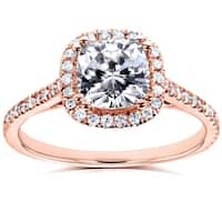 Annello by Kobelli 14k Rose Gold Cushion 1 1/3ct TGW Moissanite (FG) and Diamond (GH) Halo Engagement Ring