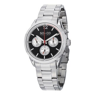 SO&CO New York Men's Monticello Black/Silvertone Stainless Steel Link Bracelet Watch