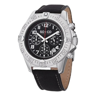 SO&CO New York Men's Black Leather Quartz Yacht Timer Chronograph Watch