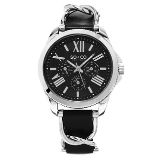 SO&CO New York Women's Black Leather/Stainless Steel Quartz Watch