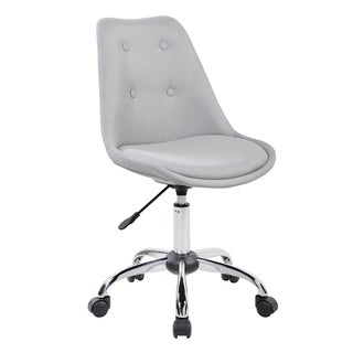 Modern Designs Black/Grey Chrome and Synthetic Fiber Armless Task Chair With Buttons