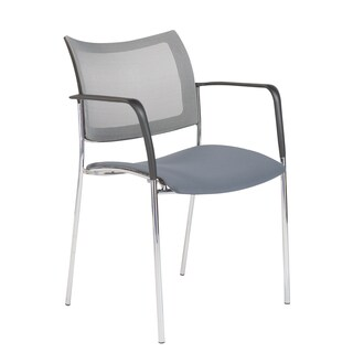 Vahn Gray and Chrome Mesh Steel Visitor Chair
