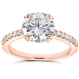 Annello 14k Rose Gold Round Moissanite and 1/5ct TDW Diamond Engagement Ring (G-H, I1-I2)