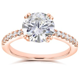 Annello by Kobelli 14k Rose Gold 2 1/10ct TGW Round Moissanite (HI) and Diamond Traditional Engagement Ring
