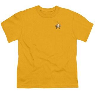 Star Trek/Ds9 Engineering Emblem Short Sleeve Youth 18/1 Gold
