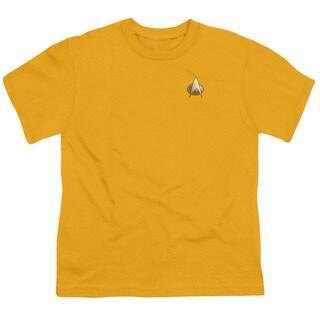 Star Trek/Tng Engineering Emblem Short Sleeve Youth 18/1 Gold