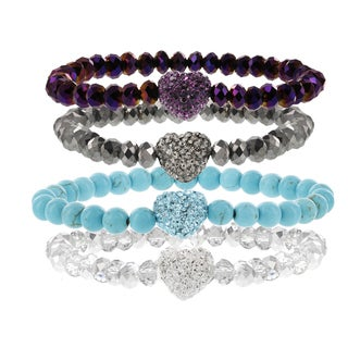H Star Stackable Crystal Heart Glass Beaded Stretch Bracelets